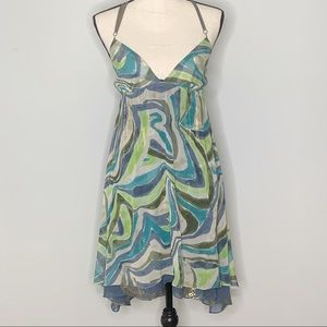 LAROK silk layered strappy watercolor print dress